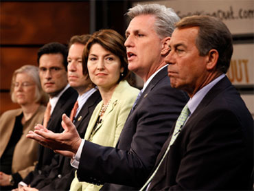 "Members of the Republican House leadership, from left to right, Michigan Rep. Candice Miller, House Minority Whip Eric Cantor, Illinois Rep. Peter Roskam, Washington Rep. Cathy McMorris Rodgers, California Rep. Kevin McCarthy and House Minority Leader John Boehner, introduce the party's new ""America Speaking Out"" campaign at the Newseum May 25, 2010, in Washington. / GETTY IMAGES"