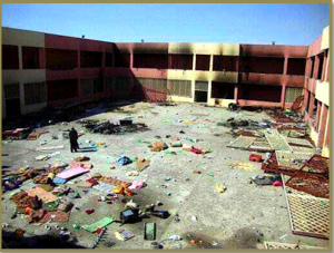Baghdad Central Prison the morning after the July 2013 attack.  (Unmarked photo, Jihadi site.)