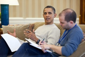 Barack Obama works on a speech with Ben Rhodes, Deputy National Security Advisor for Strategic Communications. Photo: Pete Souza/White House