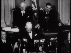 On the 26th of December, 1941, Winston Churchill became the first British Prime Minister to address a joint session of the American Congress.