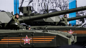 Russia's new Armata T-14 tanks rolled through Red Square in Moscow on Saturday as part of the observance of the 70th anniversary of the Allied victory over Nazi Germany. (Alexander Aksakov / Getty Images)