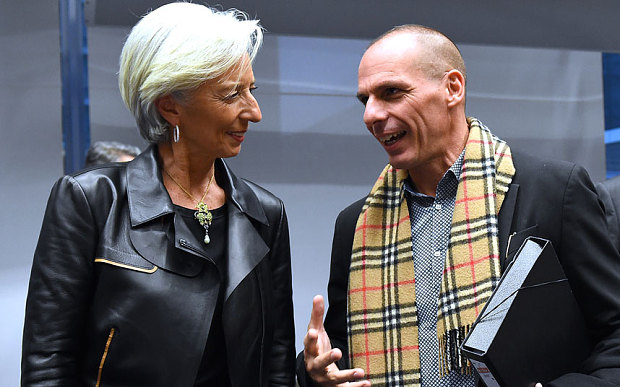 IMF director Christine Lagarde and Greek finance minister Yanis Varoufakis in happier days (AFP)