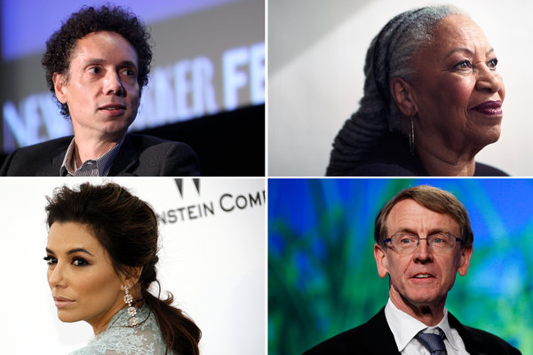 Mr. Obama has sought input from an eclectic group including, clockwise from top left, Malcolm Gladwell, Toni Morrison, John Doerr and Eva Longoria. Credit Clockwise from top left: Amy Sussman/Getty Images; Damon Winter/The New York Times; Matt Rourke/Associated Press; Valery Hace/Agence France-Presse — Getty Images