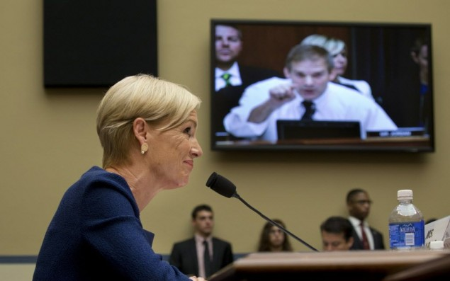 Cecile Richards, the president of Planned Parenthood, listens to an opening statement by Rep. Jim Jordan (R-Ohio) during a hearing of the House Oversight and Government Reform Committee in Washington, Sept. 29, 2015. The House and Senate will try to pass a temporary spending measure that would avert a shutdown of the federal government later this week that saves the bigger political feuds for the weeks ahead. The bill does not include language cutting off federal financing for Planned Parenthood, which some Republicans badly wanted. (Stephen Crowley/The New York Times)
