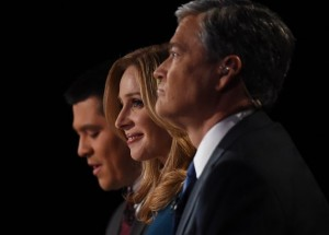 Debate moderators Carl Quintanilla (L), Becky Quick (C) and John Harwood  question candidates at the third Republican Presidential Debate hosted by CNBC, October 28, 2015 at the Coors Event Center at the University of Colorado in Boulder, Colorado.  AFP PHOTO / ROBYN BECK        (Photo credit should read ROBYN BECK/AFP/Getty Images) But will they still have jobs after last night?