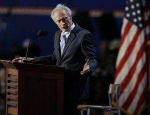 FOR USE AS DESIRED, YEAR END PHOTOS - FILE - In this Aug. 30,, 2012 file photo, actor and director Clint Eastwood speaks to an empty chair while addressing delegates during the Republican National Convention in Tampa, Fla. (AP Photo/Lynne Sladky, File)