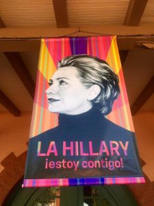 """A new Clinton campaign poster unveiled at an event in San Antonio says """"I'm with you"""" in Spanish."""