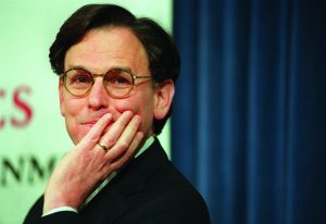 "CAMBRIDGE - APRIL 23: Sidney Blumenthal, special assistant to President Clinton, discussing ""The Presidency and America's Future"" in an ARCO Forum at Harvard's John F. Kennedy School of Government, in Cambridge, Mass. (Photo by Dominic Chavez/The Boston Globe via Getty Images)"